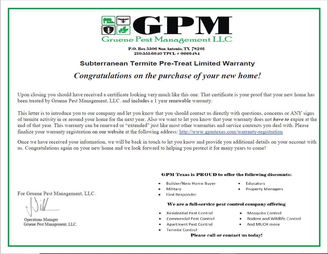 Pre-treat Warranty Certification Image